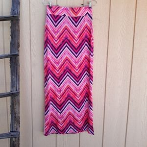 Anna Skirt Maxi Long Double Slitted Pink Zigzag